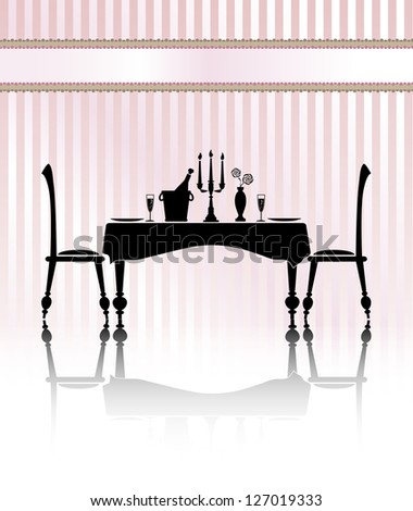 Silhouette of a romantic table setting for two. Black and white with reflection and pink candy stripe background. Banner for your text. EPS10 vector format - stock vector