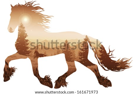 silhouette of a running horse. inside the mountain landscape with pine forest - stock vector