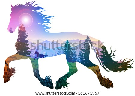 silhouette of a running horse. inside the mountain landscape with pine forest, bright colors - stock vector
