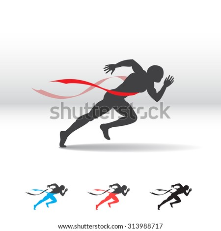 Silhouette of a running man. Victorious finish red ribbon. Vector illustration. - stock vector