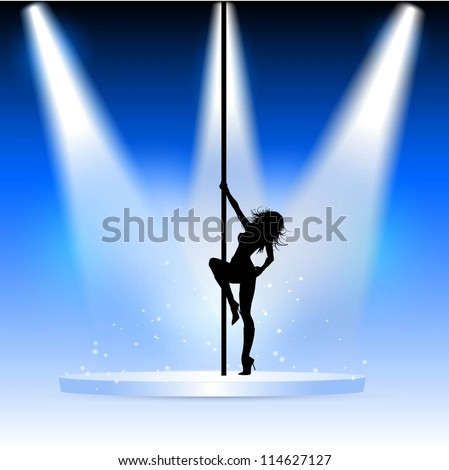 Silhouette of a sexy pole dancer on a podium under spotlights - stock vector