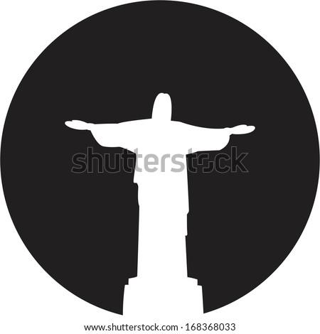 Silhouette of a statue to Jesus Christ in Rio de Janeiro - stock vector