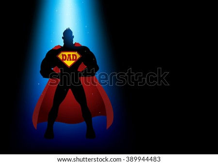 Silhouette of a superhero under blue light with dad symbol on chest - stock vector