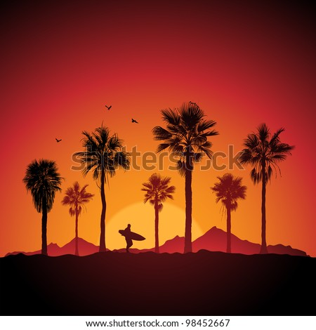 Silhouette of a surfer and palm trees at sunset - stock vector
