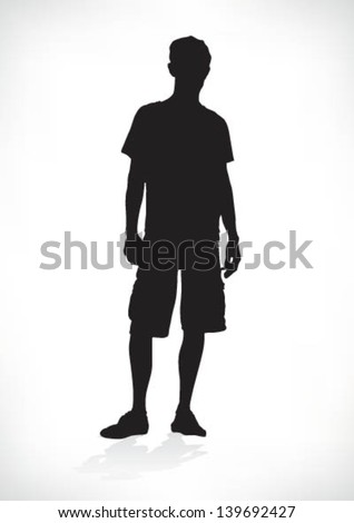silhouette of a teenager, relaxed, vector - stock vector