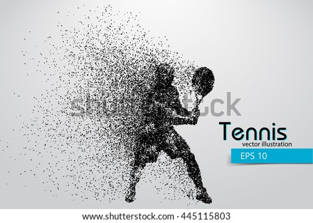 Silhouette of a tennis player from particles. Text and background on a separate layer, color can be changed in one click. Tennis player - stock vector