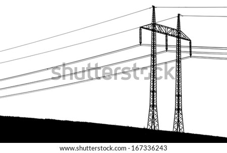 silhouette of a transmission tower with wires - stock vector