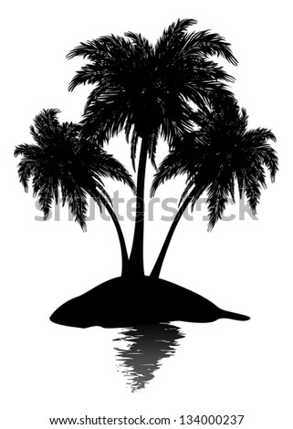 Silhouette of a tropic island with palm trees on white background. - stock vector