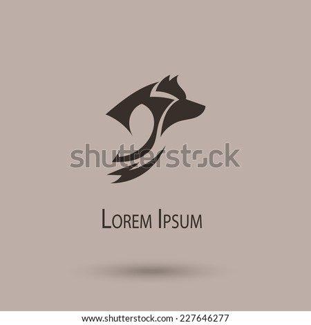 Silhouette of a wolf head. Vector stylized icon - stock vector