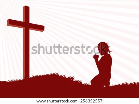 Silhouette of a woman praying under the cross-Vector illustration  - stock vector