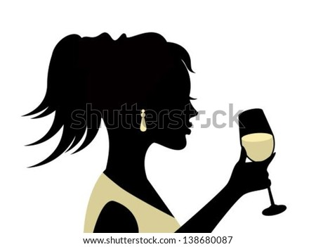 silhouette of a woman with a glass on a white background - stock vector