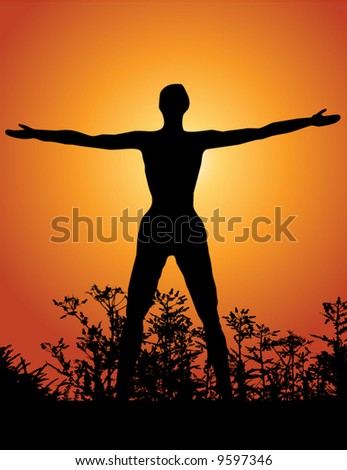 Silhouette of a woman with arms lifted up to the sky - stock vector