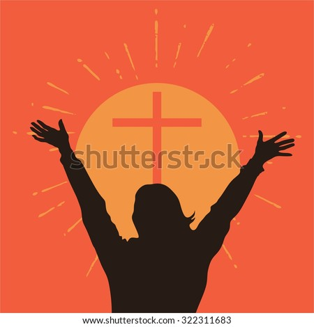 Silhouette of a woman with raised hands in front of a cross - stock vector