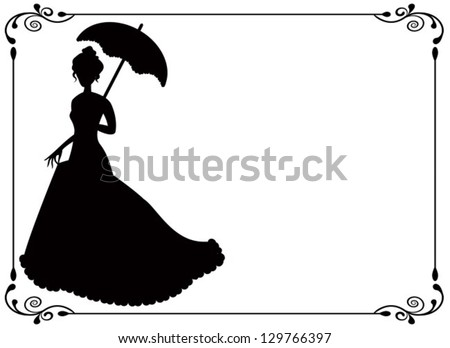 silhouette of a woman with umbrella and long dress  umbrella and vintage frame with swirls - stock vector