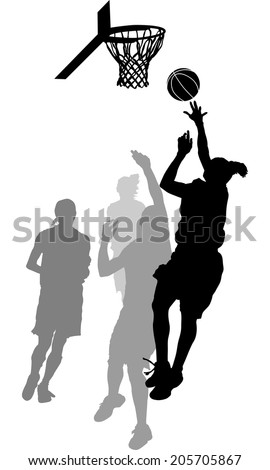 Silhouette of a women's basketball layup with gray scale defensive players - stock vector