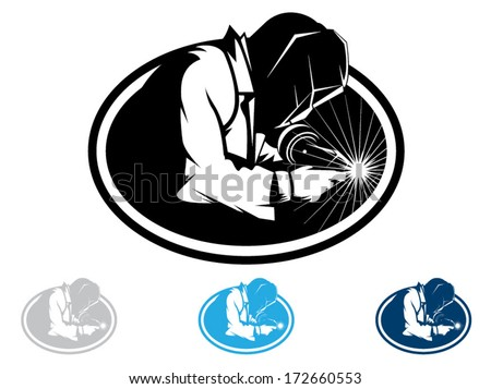 Silhouette of a working welding with a torch/Welding Vector - stock vector