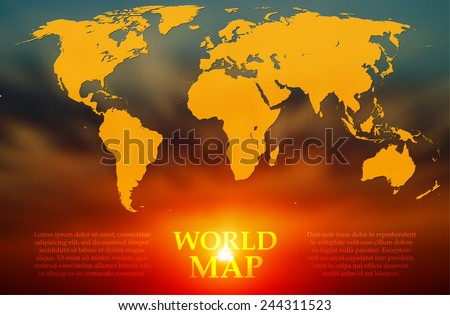 Silhouette of a world map on the background blurred image of sunrise. Vector - stock vector