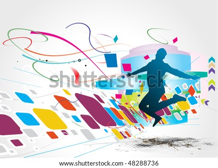 silhouette of a  young happy man and having fun, vector illustration - stock vector