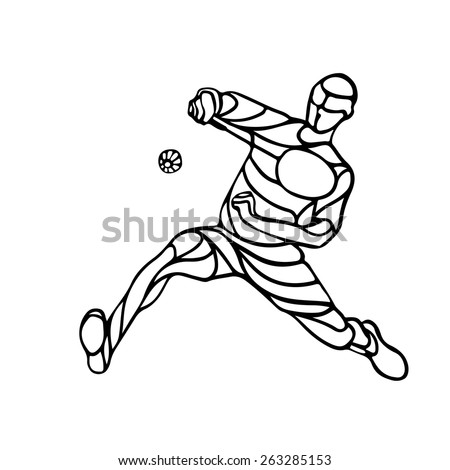 Silhouette of abstract badminton player doing smash shot. Black and white outline professional badminton player. Vector illustration - stock vector