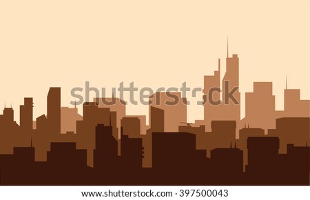 Silhouette of advanced city - stock vector