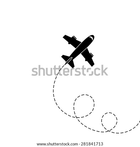 Silhouette of aircraft isolated on white background. Vector Image. - stock vector