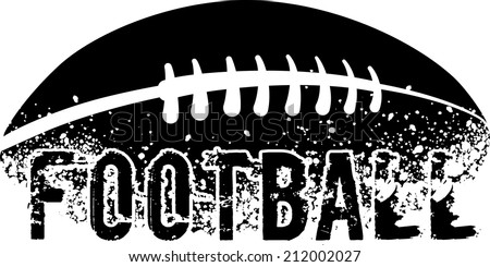 silhouette of an american football with dirt splatter and a grunge typeface of the word football. - stock vector