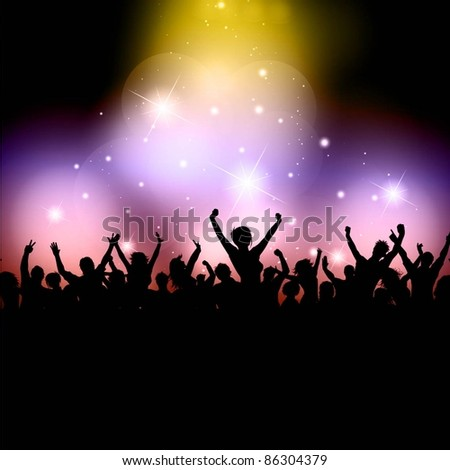 Silhouette of an excited party crowd on disco lights background - stock vector