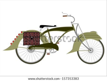 Silhouette of an old bicycle in a steampunk style on a white background. - stock vector
