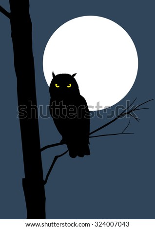Silhouette of an owl on full moon - stock vector