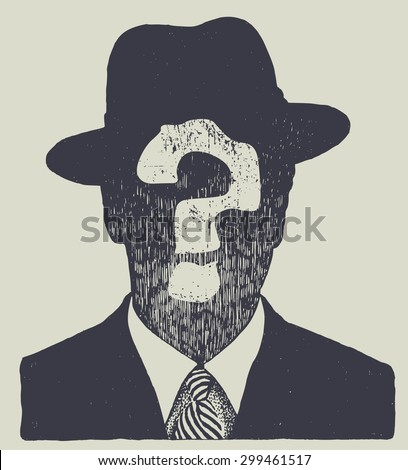 silhouette of an unknown man in a hat and suit. vector illustration. - stock vector