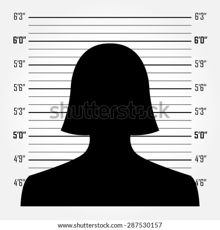 Silhouette of  anonymous woman in mugshot or police lineup background - stock vector