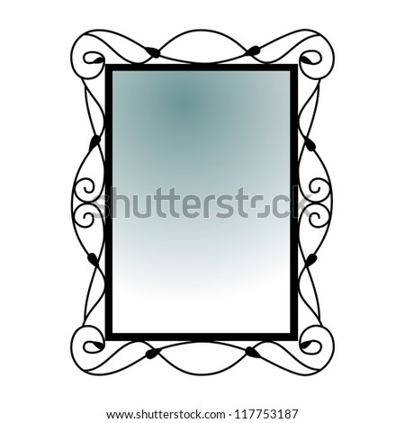Silhouette of antique mirror isolated on white background. Vector - stock vector