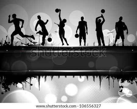 Silhouette of athletes or sports person with text space for your message. EPS 10. - stock vector