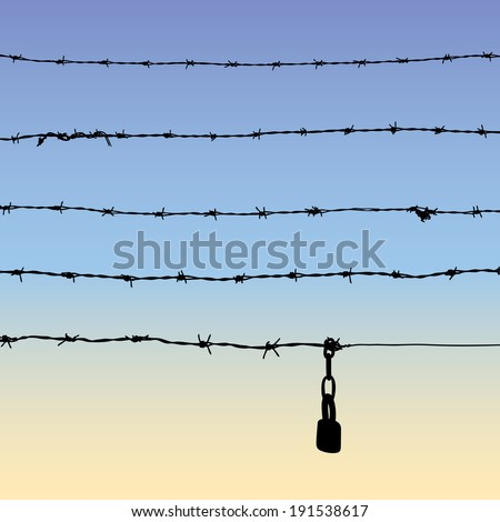 Silhouette of barbed wire with padlock, five parts of barbed wire, vector illustration - stock vector