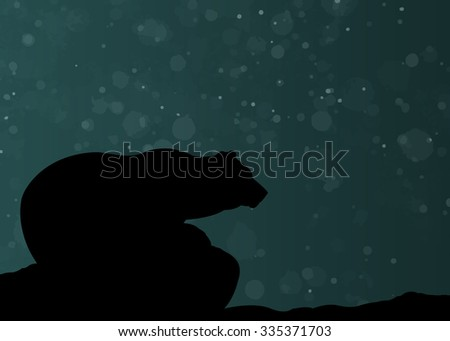 Silhouette of bear in night, looking forward - stock vector