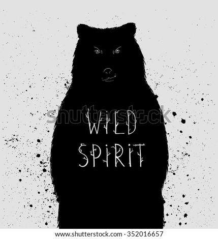 "Silhouette of  bear with ""wild spirit"" lettering. Vector illustration - stock vector"