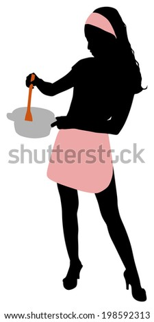 Silhouette of beautiful girl cooking  - stock vector