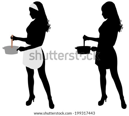 Female Cook Silhouette Stock Photos, Images, & Pictures ...