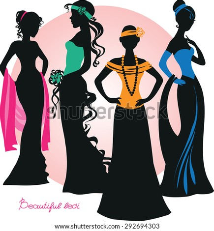 Silhouette of beautiful girls in elegant dresses. Vector illustration. Isolated objects. - stock vector