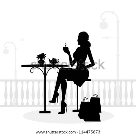 Silhouette of beautiful woman in cafe - stock vector