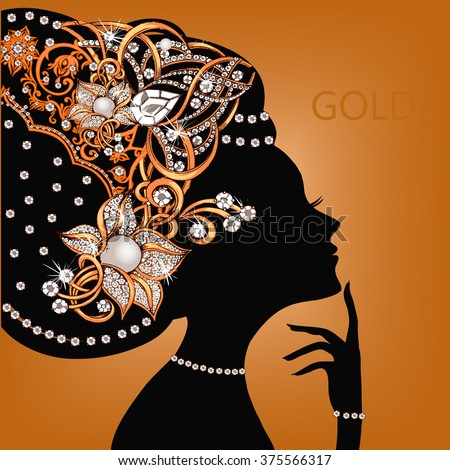 Silhouette of beautiful woman with flowers in her hair. The silhouette of a woman with jewelry. Gold jewelry. - stock vector