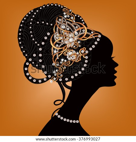 Silhouette of beautiful woman with flowers in her hair. The silhouette of a woman with jewelry. Gold jewelry.Beautiful black woman - stock vector
