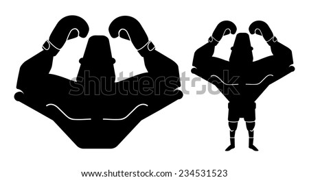 Silhouette of big muscular boxer with hands raised up. Vector black color illustration isolated on white  - stock vector