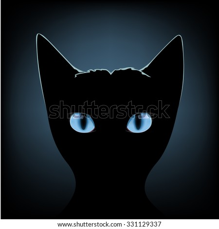 Silhouette of black cat with blue eyes on a dark background - stock vector