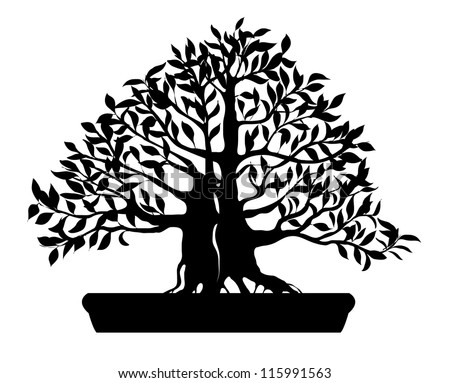 Silhouette of bonsai tree isolated on white background - vector illustration - stock vector