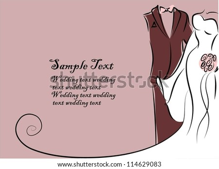 Silhouette of bride and groom, background, wedding invitation, the vector - stock vector
