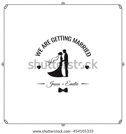 Silhouette of bride and groom, background, wedding invitation,  vector - stock vector