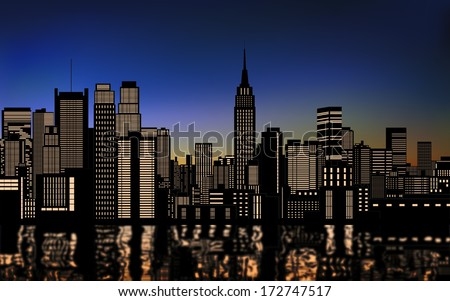 silhouette of buildings in new york city downtown with light from windows and water reflection at evening,morning sky - stock vector