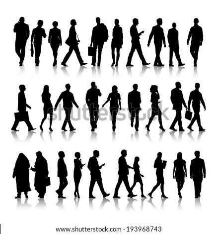 Silhouette of business people commuting. - stock vector