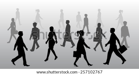 Silhouette of business people walking  - stock vector